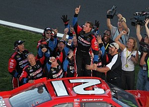 Trevor Bayne and crew celebrate win