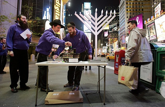 Students Spinning Dreidels in Times Square, Mario Tama, Getty Images