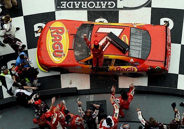 Regan Smith in winner's circle at Daytona International Speedway