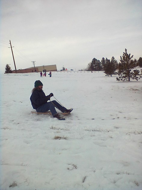 Grateful Mike Sledding Near Okie Blanchard