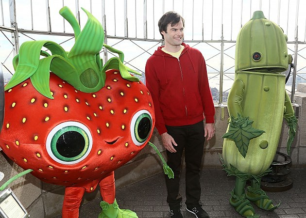 Bill Hader and 'Cloudy with a Chance of Meatballs 2' characters 2013