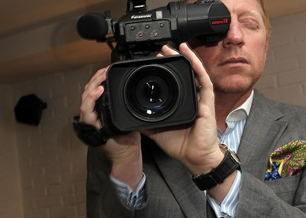 Boris Becker Holding Movie Camera 2010