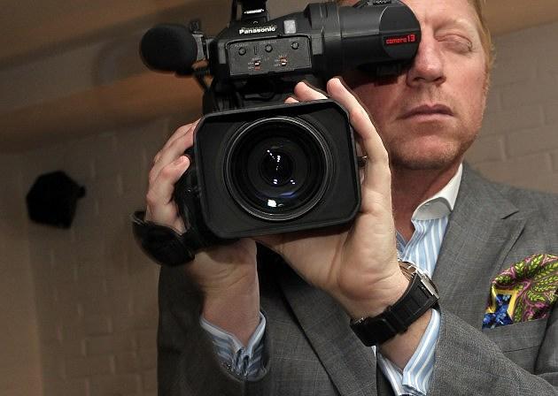 Boris Becker Holding Movie Camera 2010