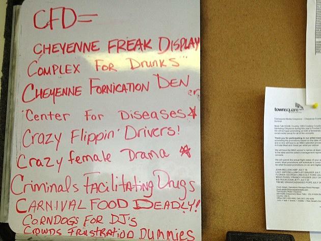 CFD Slogans on KING FM Studio Whiteboard