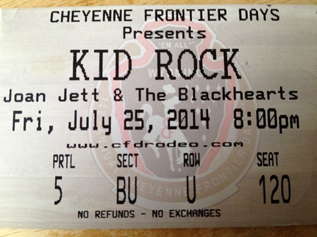 Kid Rock CFD Ticket 2014
