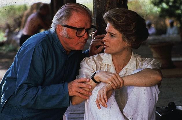 Richard Attenborough directing Candice Bergen in 'Gandhi' 1985